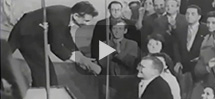 Leonard Bernstein and the New York Philharmonic greet Dmitri Shostakovich in Moscow, 1959.
